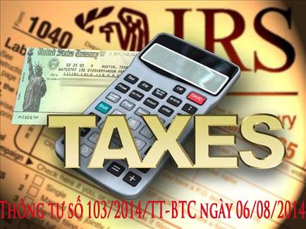 Thông tư số 103/2014/TT-BTC ngày 06/08/2014